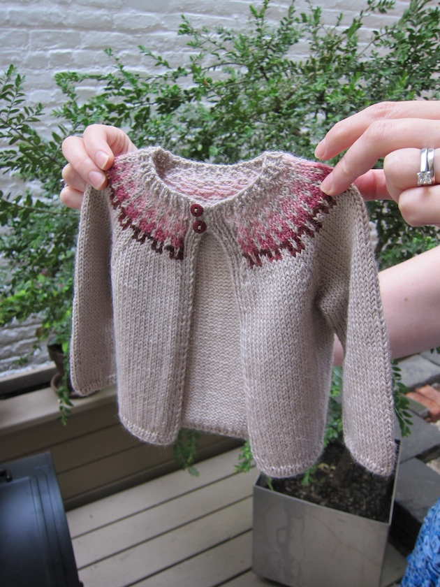 6b678c76155f45 I bought the yarn and buttons at Purl Soho and used their baby girl fair  isle cardigan pattern.